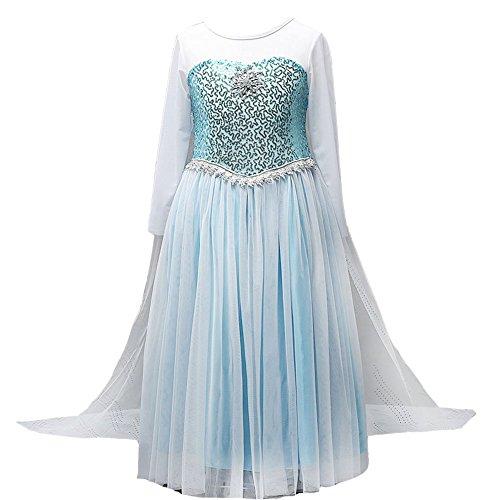 ZD 2015 Girls Snow Queen Costume Elsa Dress Christmas Princess Dress UpSky Blue130US 5