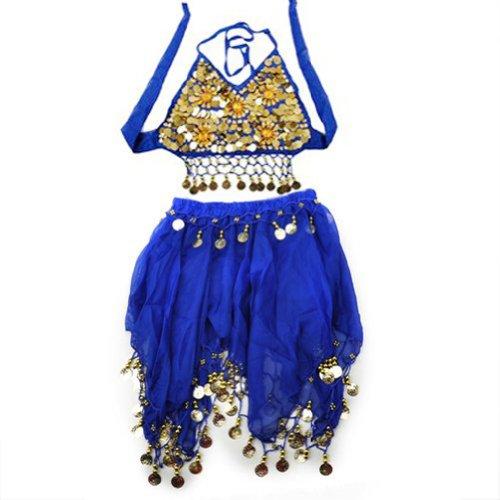TopTie Kids Tribal Belly Dance Girl Skirt Halter Top Set Halloween Costumes BLUE-M
