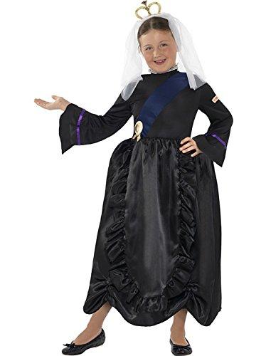Horrible Histories Big Girls Queen Victoria Fancy Dres Costume Ages 7-9 Years Black