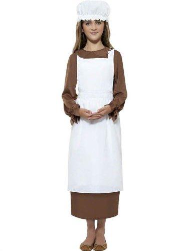 Star55 Big Boys Victorian Tudor Medieval Maid Servant Apron Hat Fancy Dres Costume Medium 7-9 Years Multicolor