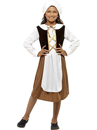 Star55 Big Girls Medieval Tudor Maid Fancy Dres Costume Medium 7-9 Years Brown