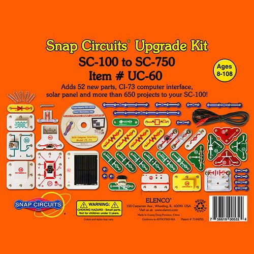 Elenco Snap Circuits UC-60 Upgrade Kit Convert SC-100 to SC-750 Ages 8
