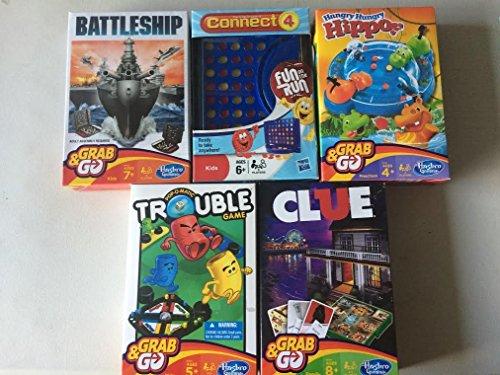 5 Pk HASBRO Fun on the Run Travel Board Games ~ MONOPOLY~CONNECT 4~TROUBLE~CLUE~BATTLESHIP