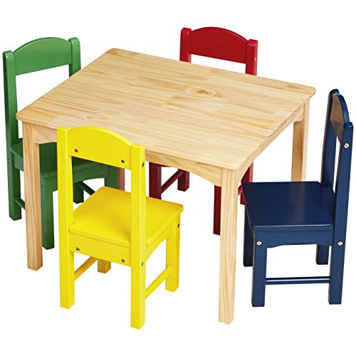 AmazonBasics Kids Wood Table and 4 Chair Set Natural Table Assorted Color Chairs