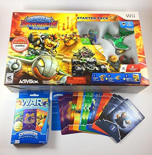Skylanders Game Bundle - SuperChargers Racing Wii Starter Pack and War Card Game for Kids