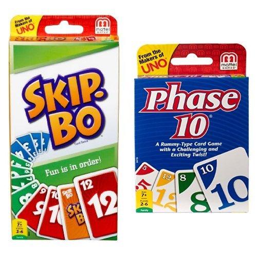 SKIP BO Card Game and Phase 10 Card Game Bundle