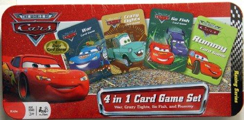 Disney Pixar THE WORLD OF CARS 4 in 1 Card Games Tin Box Set- WAR CRAZY EIGHTS Go Fish RUMMY Card Games Box Set