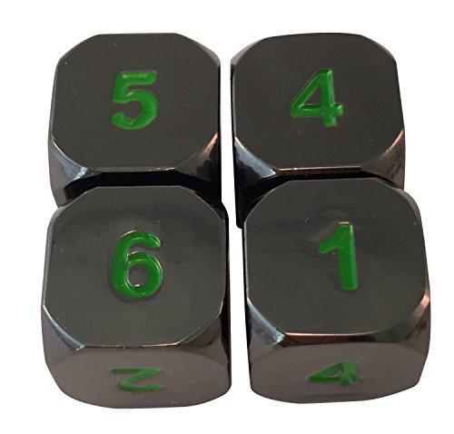 Skull Splitter Dice- Black Dragon Black and Green- Solid Metal Six Sided D6 RPG Dice- Set of 4