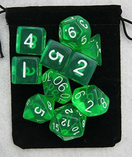 Translucent Green RPG D&D Dice Set 7  3d6  10 polyhedral die plus bag