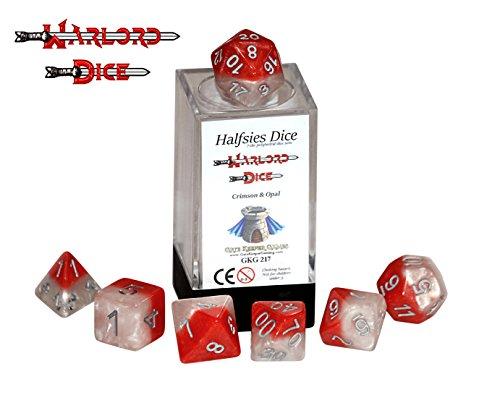 Warlord Halfsies Dice - 7 die polyhedral dice set - Crimson Opal