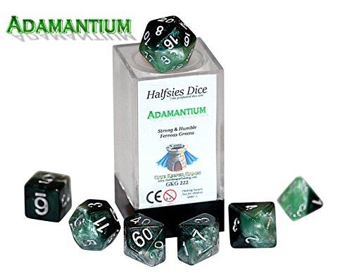 Adamantium Halfsies Dice - 7 die polyhedral rpg gaming dice set - Strong Humble Ferrous Greens