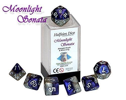 Moonlight Sonata Halfsies Dice - 7 die polyhedral rpg gaming dice set - Midnight Purple Moon Grey by Gate Keeper Games