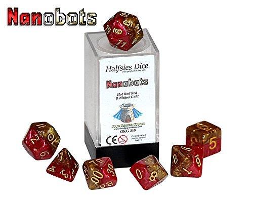 Nanobots Halfsies Dice - 7 die polyhedral rpg gaming dice set - Hot Rod Red Nitinol Gold by Gate Keeper Games