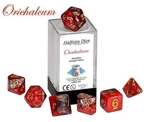 Orichalcum Halfsies Dice - 7 die polyhedral rpg gaming dice set - Vermilion Cupric Silver by Gate Keeper Games
