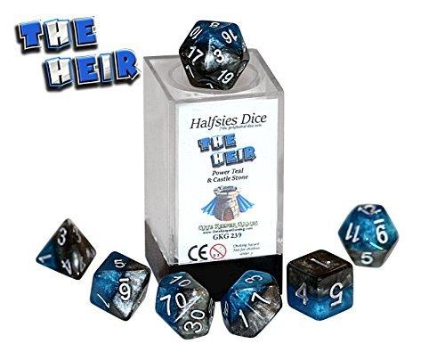 The Heir Halfsies Dice - 7 die polyhedral rpg gaming dice set - Power Teal Castle Stone by Gate Keeper Games