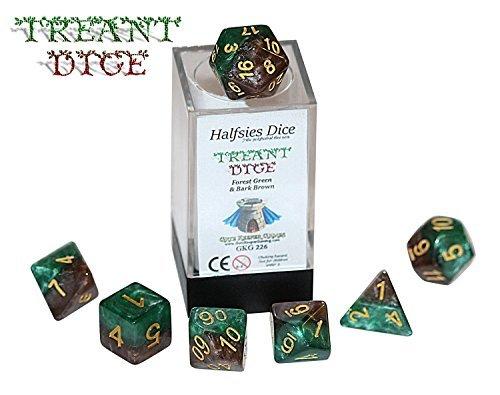 Treant Halfsies Dice - 7 die polyhedral rpg gaming dice set - Forest Green Bark Brown by Gate Keeper Games