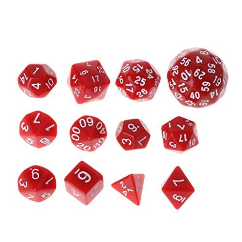 Dsxnklnd Multi-Sided Polyhedral Dice D4 D6 D8 D10 D12 D20 D24 D30 D60 Dungeons Dice Set Party Games 12pcsSet