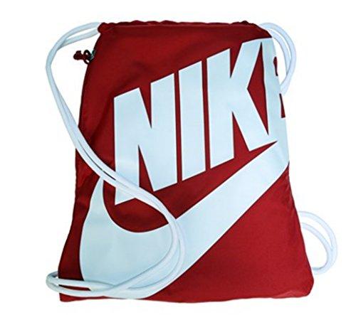 Nike Heritage Drawstring Gymsack Backpack 400 Denier Sport Bookbag University Red with Signature White Swoosh