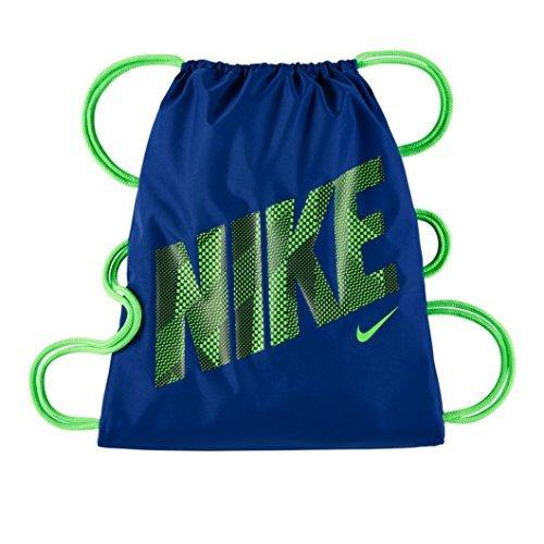 Nike Young Athlete Drawstring Gymsack Backpack Sport Bookbag Royal BlueVolt Signature Large Brand Name Logo and Swoosh