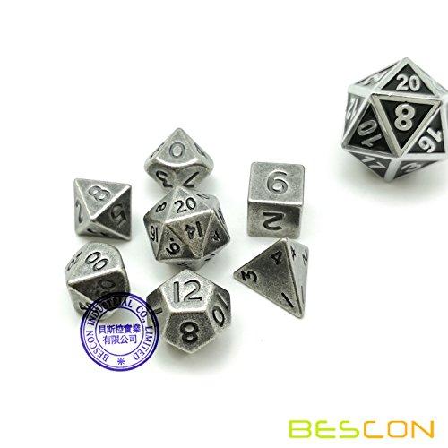 Bescon 10MM Mini Solid Metal Dice Set Old Nickle Ancient Mini Metallic Polyhedral D&D RPG Miniature Dice 7-Sets