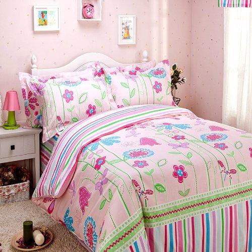 Butterfly Love Flower Duvet Cover Set Pink Girls Bedding Kids Bedding Full Size