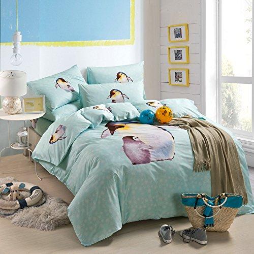 Penguin Blue Bedding Duvet Cover Set Cartoon Bedding Kids Bedding Girls Bedding Teen Bedding Gift Idea Full Size