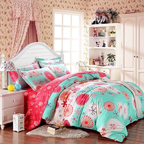 SAYM Home Bedding Sets Elegant Rural Style Print Full Size Set For Lovely Teen Girls 100 Polyester Fiber Duvet Cover Flat Sheet Shams Set 4Pieces