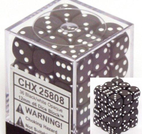 Black Opaque Dice 12mm D6 Set of 36 CHX25808