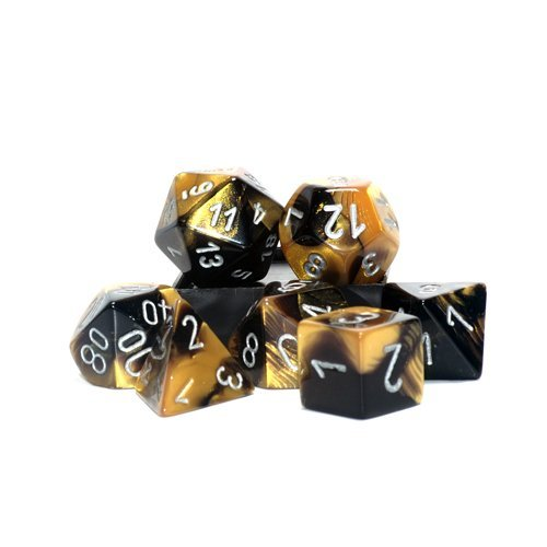 Gemini Polyhedral Black-Gold w Silver 7 Dice Set CHX-26451