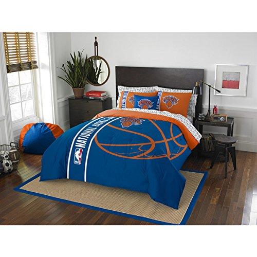 7 Piece Kids NBA Atlantic Knicks Full Comforter Set New York Madison Square Garden Blue Orange Sports Bedding Knicks Merchandise Team Spirit Basketball Themed National Basketball Association