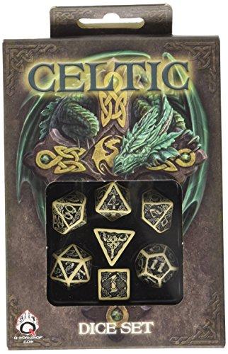 Q-Workshop Celtic 3D Dice BeigeBlack 7 Board Game