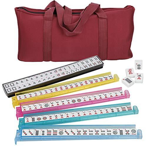 ZENY American Mah Jongg Mahjong Set w 4 Pushers Racks 166 Tiles Complete Western Mahjongg Game Set Soft Bag Including 3 Dices