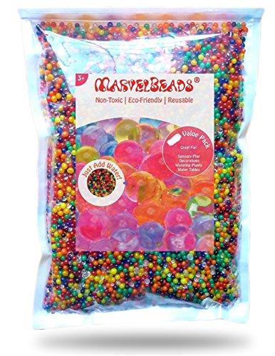 MarvelBeads Water Beads Rainbow Mix 1 Pound Bulk for Kids Sensory Play and Spa Refill BPA Phthalate Free