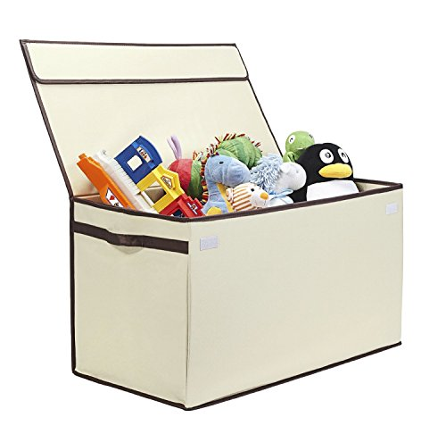 Great Useful Stuff  Bigger Sturdier Toy Chest  Collapsible with Flip-Top Lid Large Ivory 600 Denier  Extra Tough
