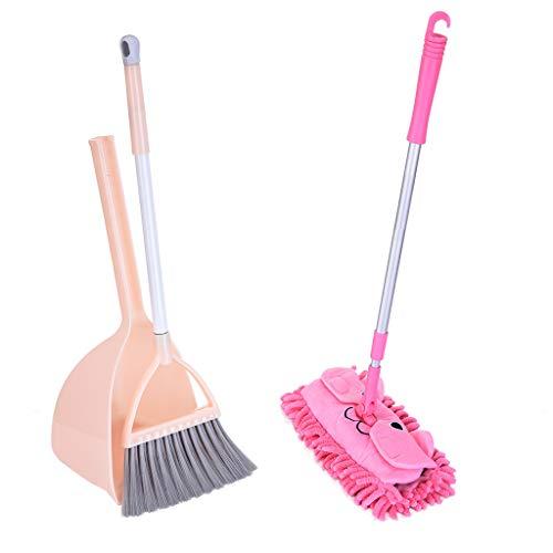 BLACKOBE Kids Housekeeping Cleaning Tools Set-3pcs Mop Broom Dustpan Pretend Play Cleaning Set Toy Kitchen Toddler Cleaning Set Gifts for Kids Toddler Girls Boys Unisex-Kids Pink&Blue Pink