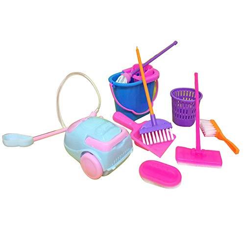 Tcplyn Premium Quality 9Pcs Cleaning Tool Broom Toy Pretend Play Furniture Mini Housekeeping Brush Random Color