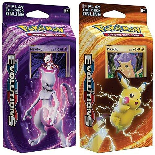 Pokemon Mewtwo Pikachu XY Evolutions TCG Card Game Decks - 60 Cards Each