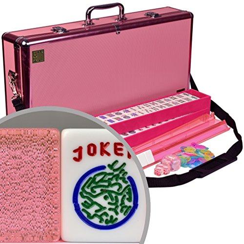 American Mahjong Mah Jongg Mahjongg 166 Tiles All-in-One Racks  Pushers Set - Pink Sparkles with Pink Aluminum Case