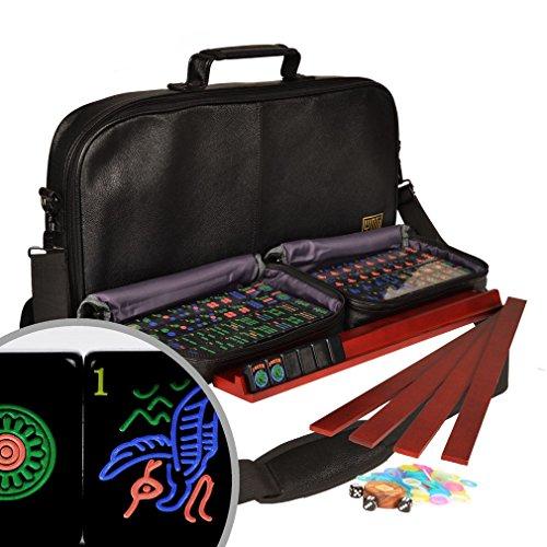 American Mahjong Mahjongg Mah-Jongg Set w 166 Jet Black Tiles 4 All-in-One Racks  Pushers Accessories and Soft Leatherette Case - Soft Jet