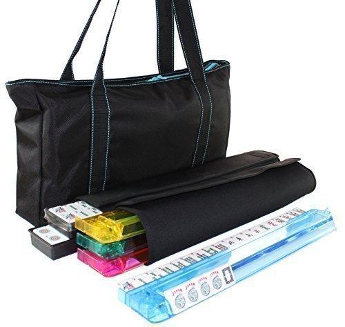 American Mahjong Set Waterproof Black Nylon wtih Blue Stitches Bag 4 Color PushersRacks Western Mahjongg