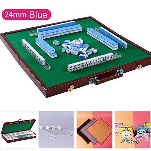 HenMerry Chinese Mahjong Set 144 Tiles Mahjong Accessories Handbag Tablecloth Chinese Classic Tile Games Mini Mah Jong Mahjongg Mah-Jongg Mah Jongg Travel Set 24MM Blue with Mahjong Folding Box Ruler