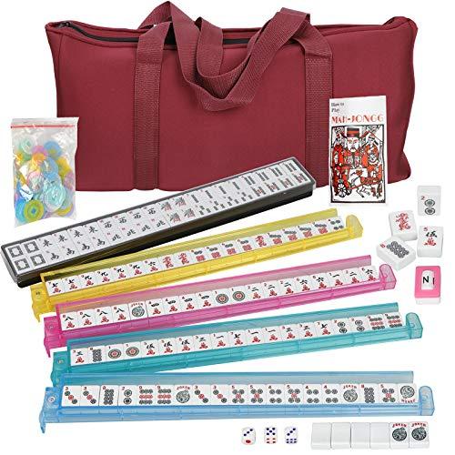 Smartxchoices 166 Tiles Mah Jongg Set American Mahjong 4 Color PushersRacks Mahjongg Game with Soft Velour Bag CaseWestern Mahjongg Tiles