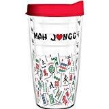 Tumbler 16 oz - Mah Jongg Tile Design Tritan USA Drinkware Red Lid