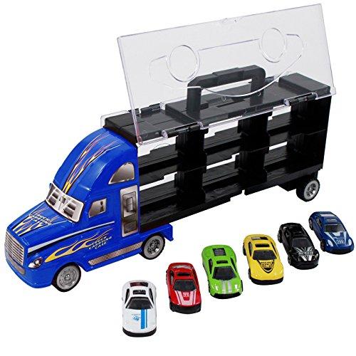 7pc Thunder Wheels Toy Truck Diecast Race Car Carrier Set - Blue