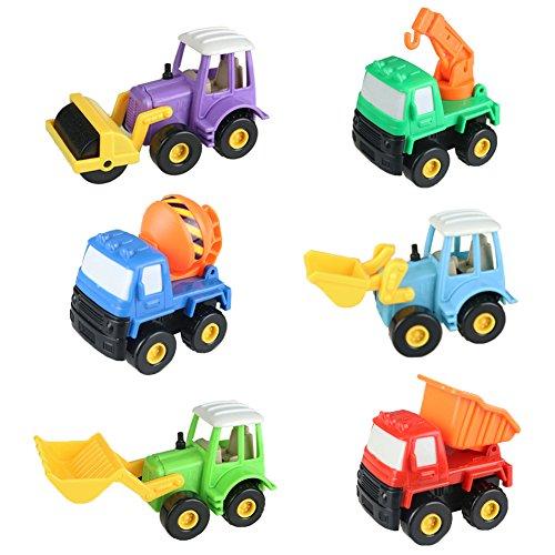 Fajiabao Kids Push Back Car Set Toy Mini Digging Car Mixer Truck Dump Truck and Cars Truck Model Toys for Boys 6 Pcs