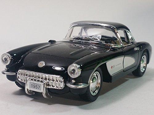 Kinsmart Black White 1957 Chevy Corvette Hardtop 134 Scale Diecast Sports Car