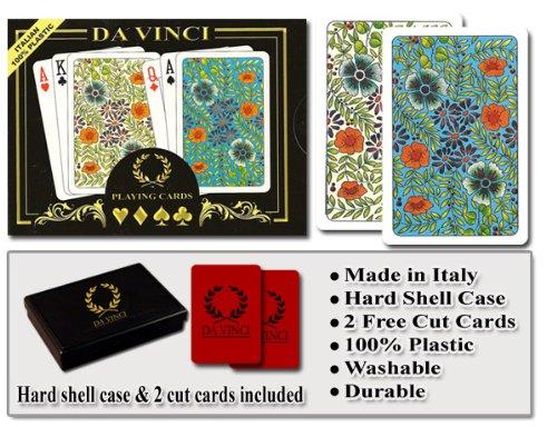Da Vinci Fiori Italian 100 Plastic Playing Cards 2-Deck Set Poker Size Jumbo Index