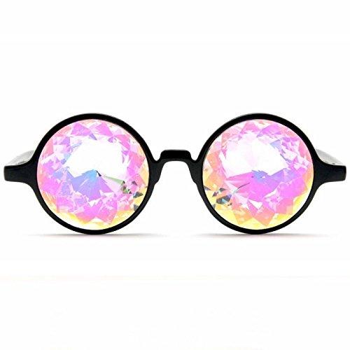 GloFX Black Kaleidoscope Glasses- Rainbow Rave Prism Diffraction
