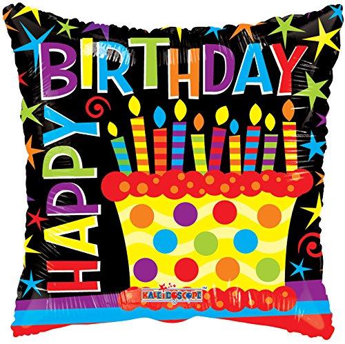 Kaleidoscope Happy Birthday Cake Foil Mylar Balloon  18 Pack of 5