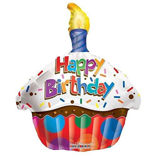 Kaleidoscope Happy Birthday Cupcake Foil Mylar Balloon  18 Pack of 5
